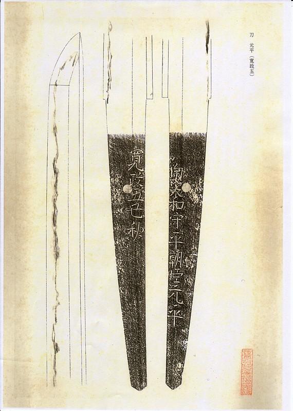 日本刀、重要刀剣、奥大和守平朝臣元平、図譜